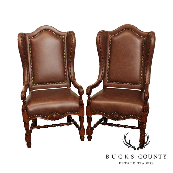 French Louis XIII Style Pair Brown Leather Wing Back Armchairs (B)
