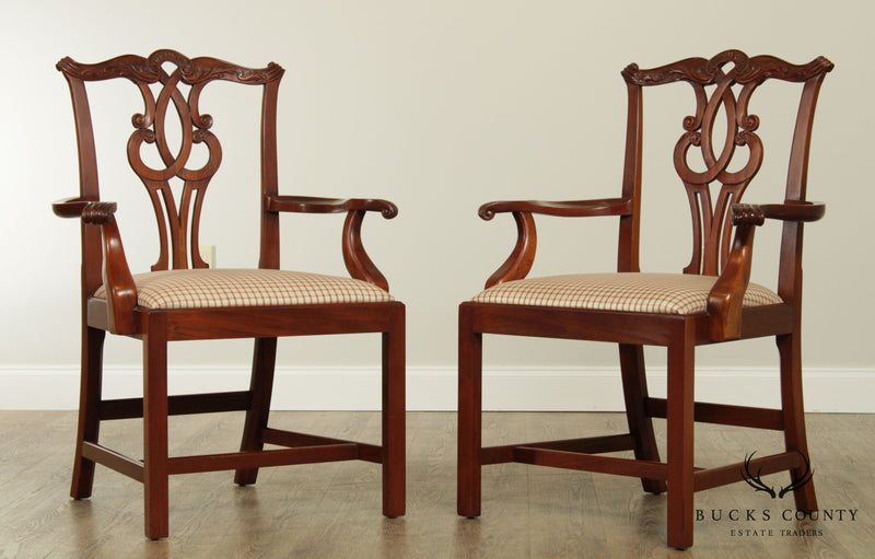 "The Wright Table Co."" Mahogany Chippendale Style Pair Armchairs"
