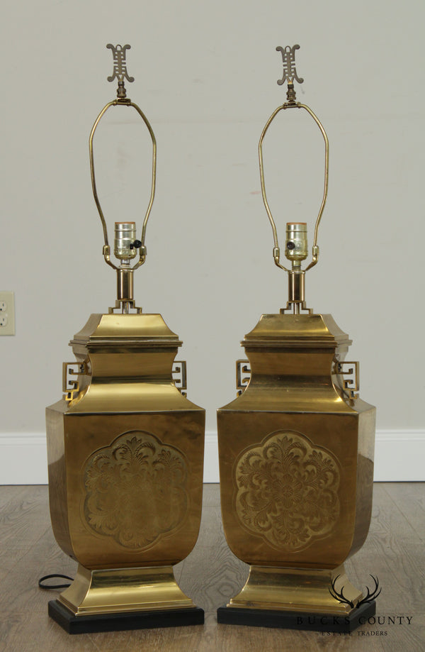 Vintage Pair Asian Brass Table Lamps