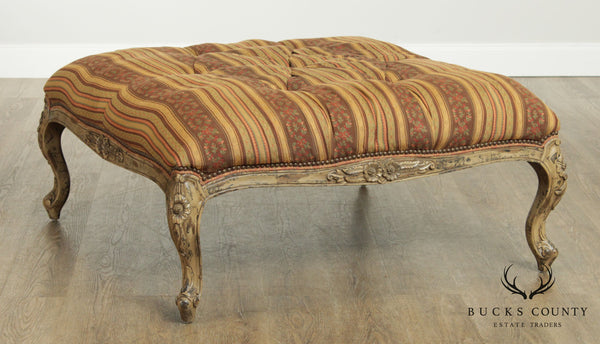 Quality French Louis XV Style Large Square Ottoman