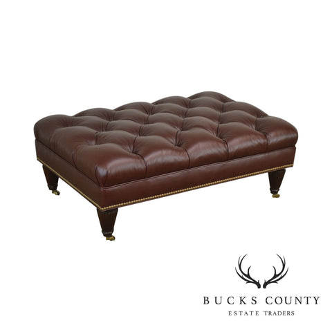 Stickley Brown Leather Tufted Chesterfield Regency Style Ottoman