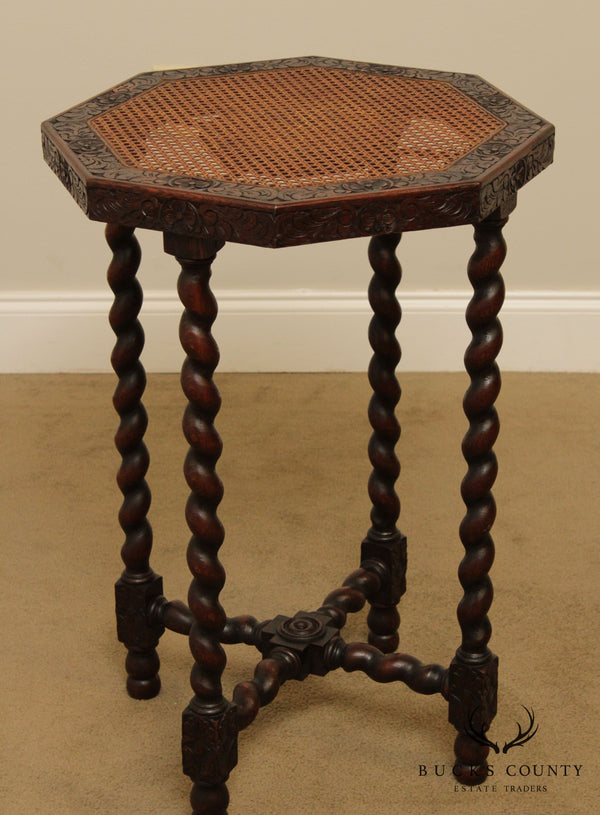 French Louis XIII Style Antique Oak Barley Twist Cane Octagonal Top Side Table