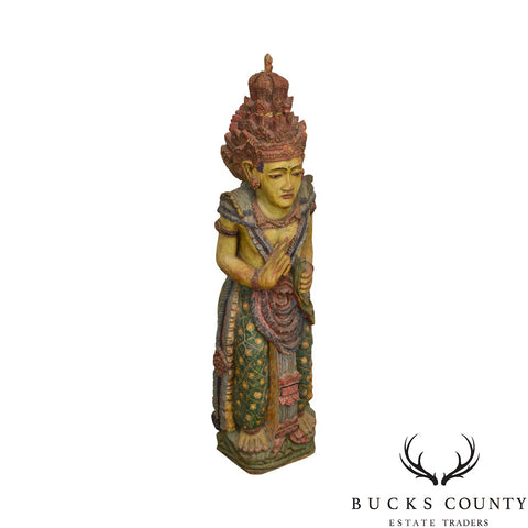 Asian Indian Hand Carved Painted Wood Hindu Woman Statue