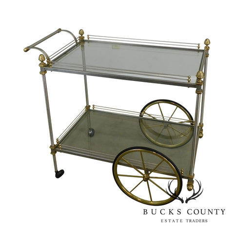 Directoire Style Brushed Steel Brass & Glass Server Cart