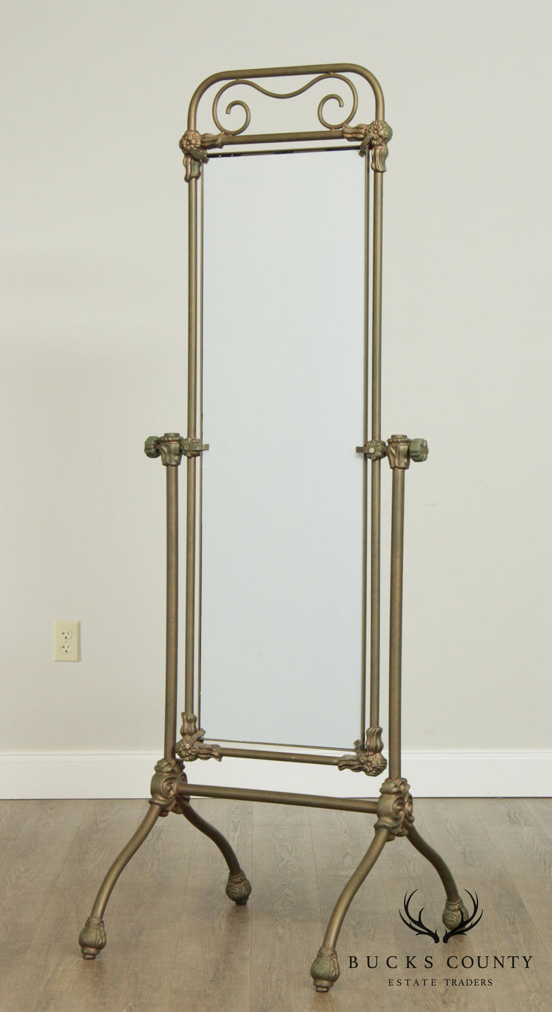 Victorian Style Wrought Iron Cheval Floor Mirror