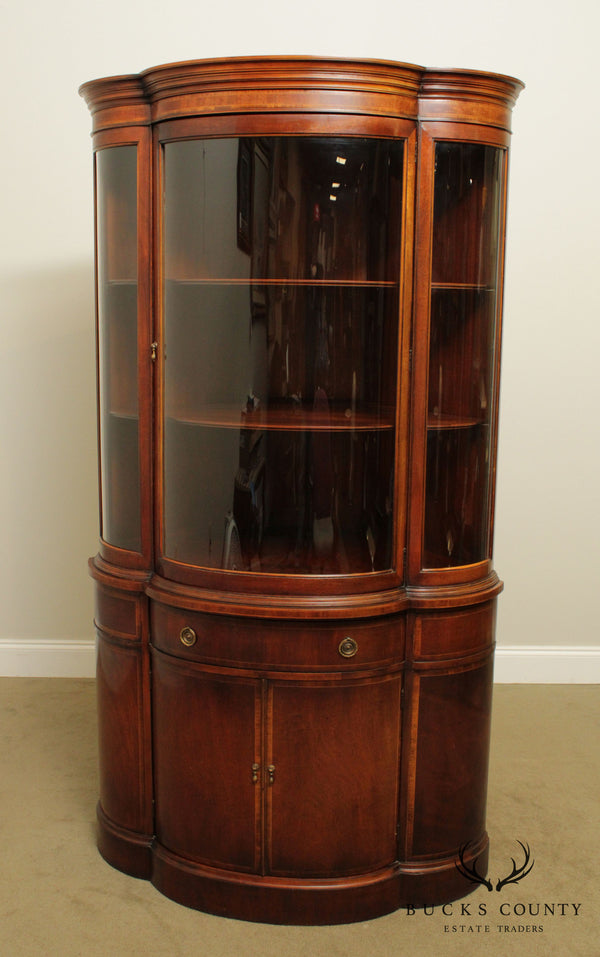 Union National 1940's Vintage Mahogany Bow Glass Corner Cabinet