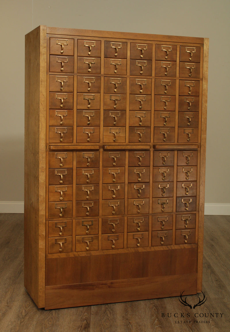 1960's Vintage Maple 72 Drawer Library Card Catalog File Cabinet