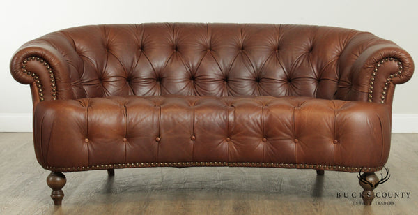 Brown Tufted Leather Chesterfield Style Sofa