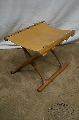 Poul Hundevad Vintage 1960s Solid Teak & Leather X Base Folding Guldhoj Stool