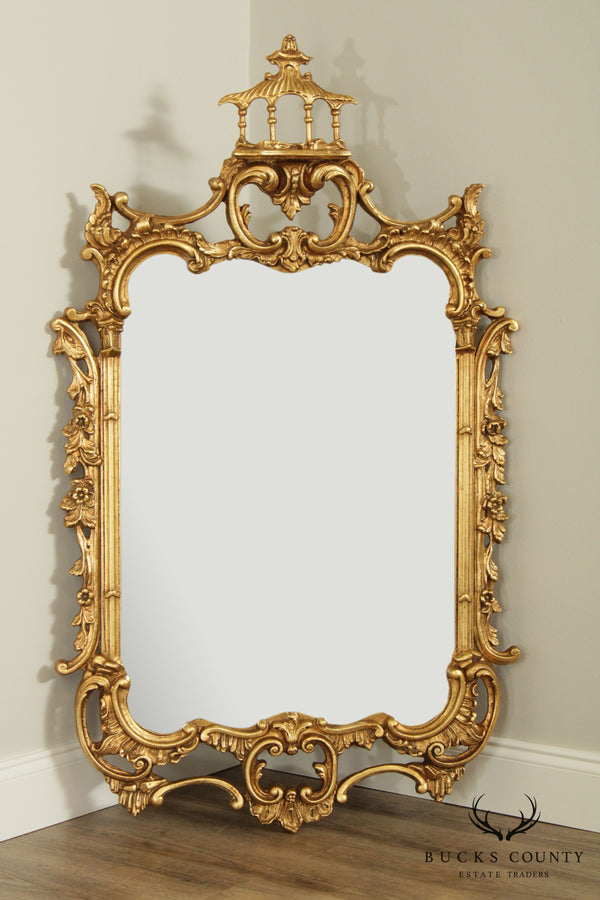 Friedman Brothers Chinese Chippendale Style Gilt Carved Pagoda Top Mirror