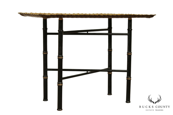 Vintage Faux Bamboo Brass Tray Top Coffee Table