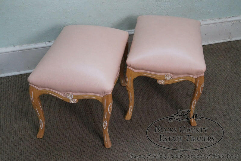 Unusual Pair of Faux Branch Leather Ottomans Benches