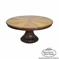 Jonathan Charles Versailles Collection Large Round Sunburst Inlaid Dining Table