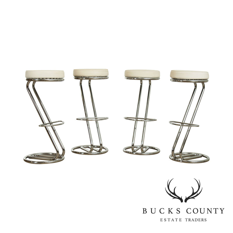 Mid Century Modern Style Set 4 Chrome Cantilever Bar Stools