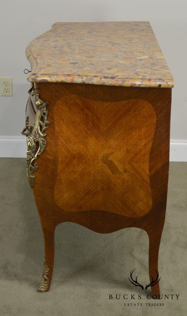 19th Century Antique French Louis XV Style Bombe Marble Top Commode Chest