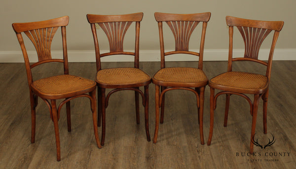 J & J Kohn Austria Antique Art Nouveau Bent Wood Set 4 Dining, Cafe Chairs