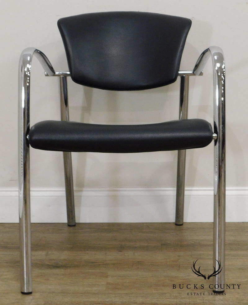 Brayton International Collection Steelcase Pair Chrome & Black Leather Armchairs