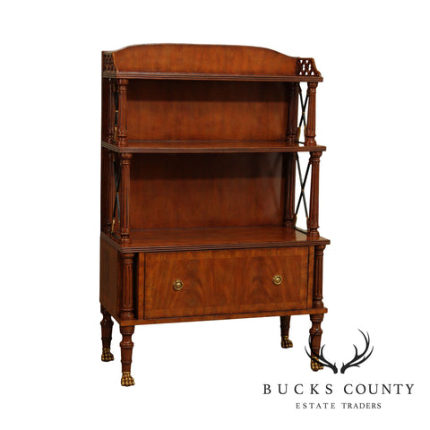Maitland Smith Mahogany Regency Style Bookcase w/ Storage
