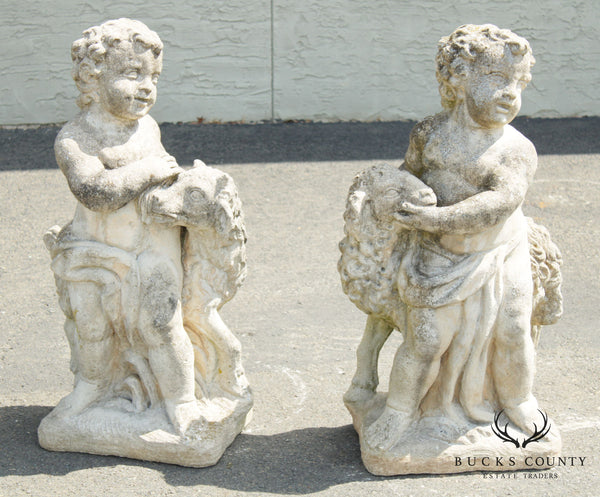 Vintage Cast Stone Pair Of Garden Statues Young Boy With Lamb