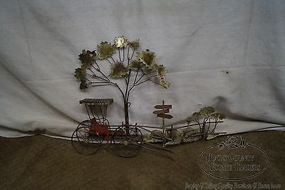 Curtis Jere Mid Century Metal Wall Sculpture of Carriage at Crossroads