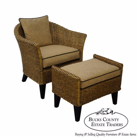 Barrel Back Rattan Lounge Chair & Ottoman from Pier 1