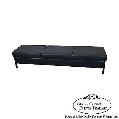 Mid Century Modern Style Black Leather Window Bench