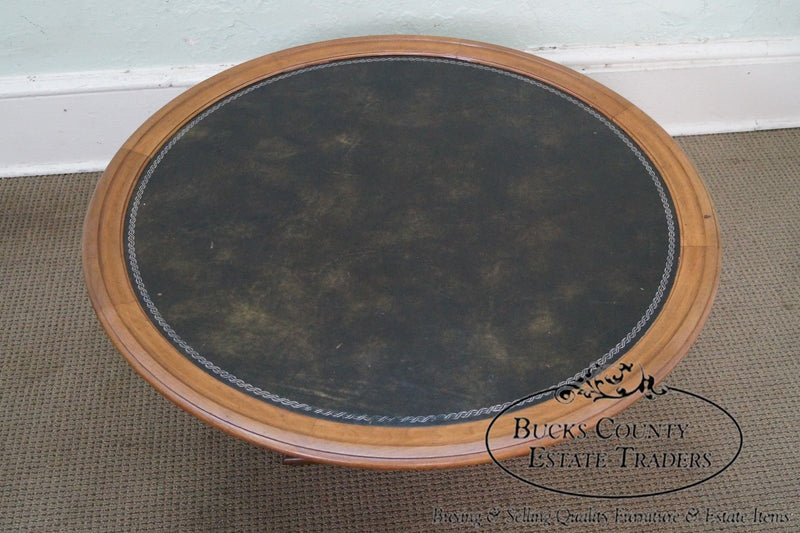 Heritage Vintage Solid Mahogany Round Regency Style Leather Top Coffee Table