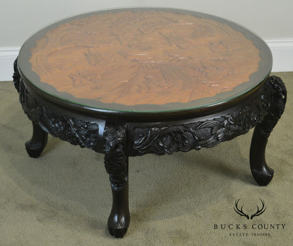Asian Carved Mixed Woods Round Coffee Table by Lord Co.