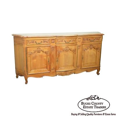 "Antique 90"" French Louis XV Style Cherry Parquet Top Sideboard Buffet"