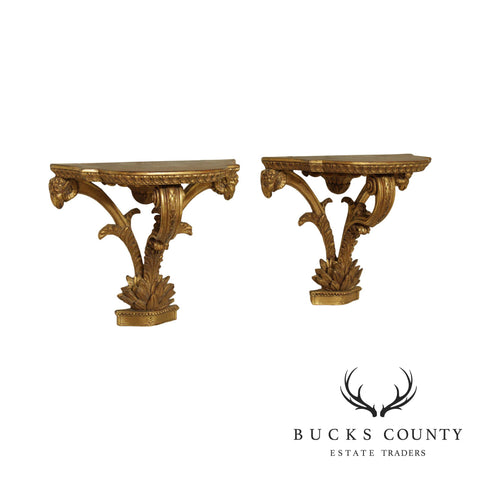 Quality Gilt Wood French Neo Classical Style Pair Wall Brackets