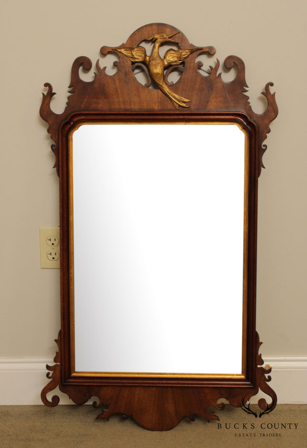 Thompson Chippendale Style Vintage Mahogany Phoenix Carved Wall Mirror