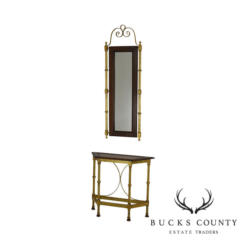 Hollywood Regency Vintage Gold, Metal, Wood Foyer Console Table w/ Mirror