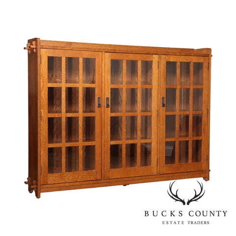 Stickley Mission Collection Oak Three Door Bookcase