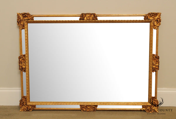 La Barge French Louis XV Style Gold Gilt Carved Beveled Wall Mirror