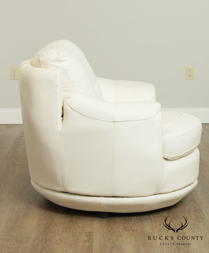 Postmodern White Leather Round Revolving Lounge Chair