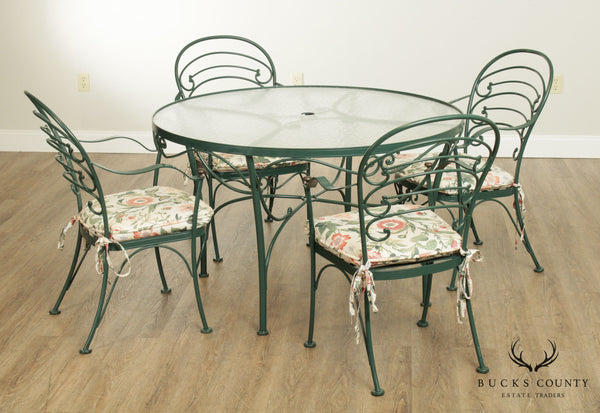 Woodard French Country Wrought Iron Round Patio Dining Table, 4 Chairs Set
