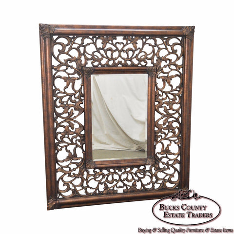 Large Baroque Style Carved Frame Beveled Wall Mirror