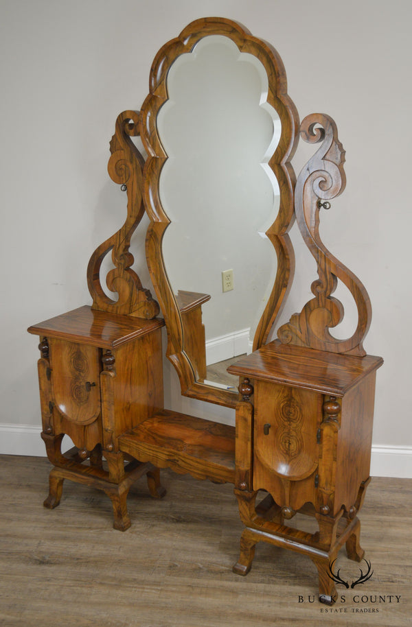 European Art Deco Antique Burl Wood Vanity with Mirror