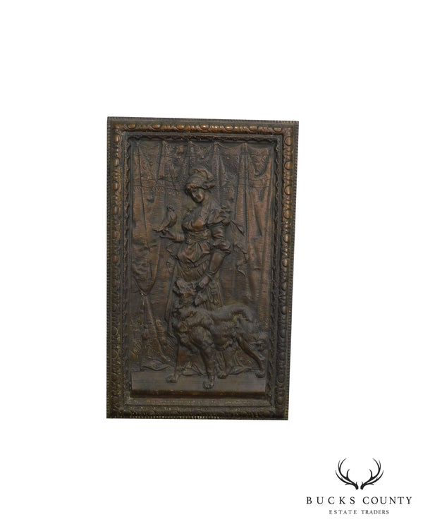 Antique Cast Iron European Relief Wall Plaque of Woman with Dog and Bird