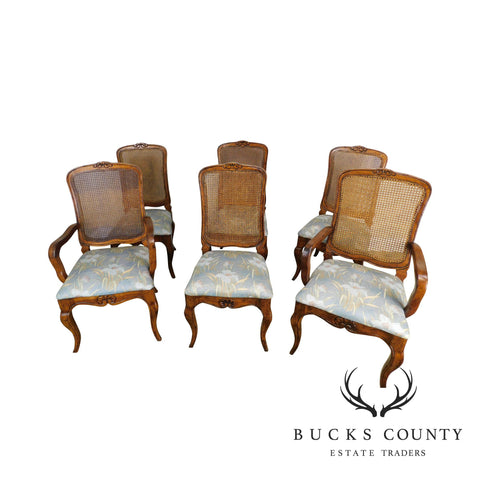 Wellesley Guild French Country Style Set 6 Cane Back Dining Chairs