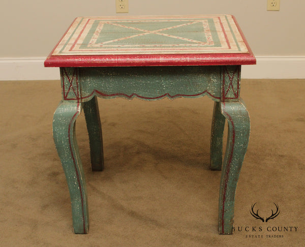 French Country Style Distressed Painted Side Table