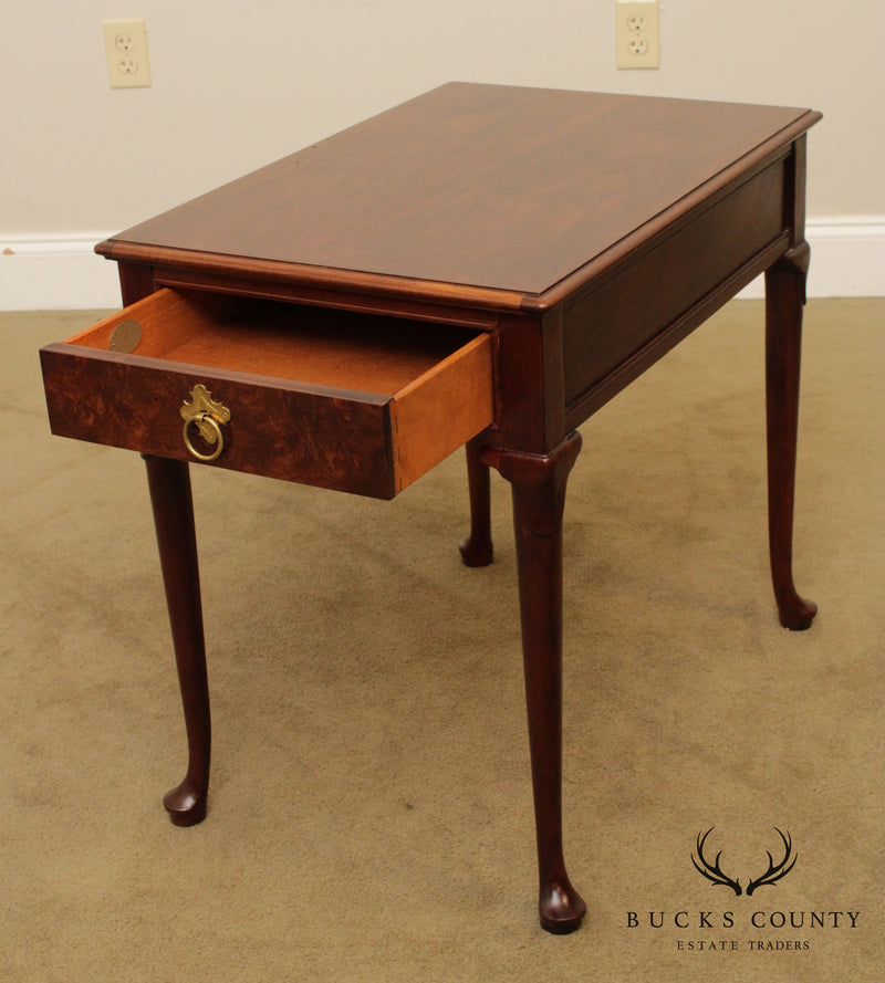 Baker Vintage Walnut Queen Anne One Drawer Side Table