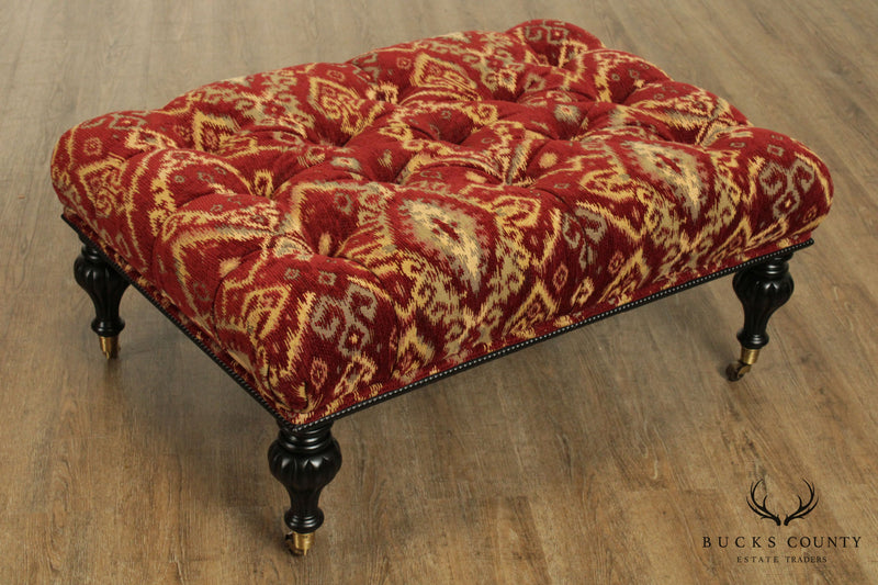 Calico Corners English Regency Style Tufted Upholstered Ottoman