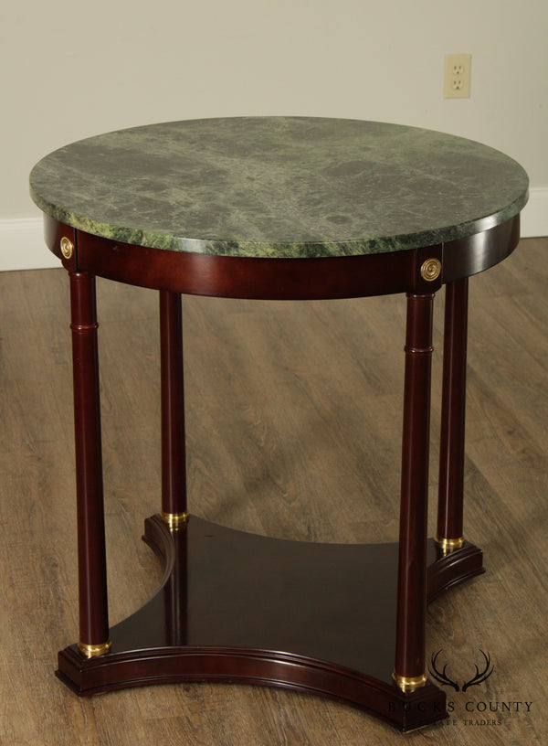 "Bombay French Empire Style 29"" Round Marble top Mahogany Side Table"