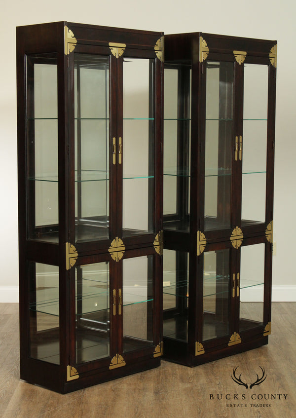 Bernhardt Vintage Asian Style Pair Curio Display Cabinets