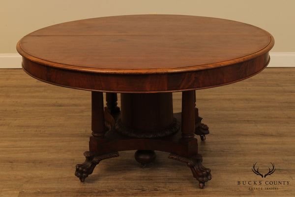 Antique American Empire 54 inch Round Mahogany Dining Table
