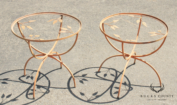 Vintage Wrought Iron Pair Round Garden or Patio Side Tables