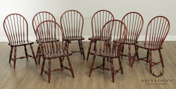 Seely Custom Quality Set 8 Solid Cherry Bow Back Windsor Dining Chairs