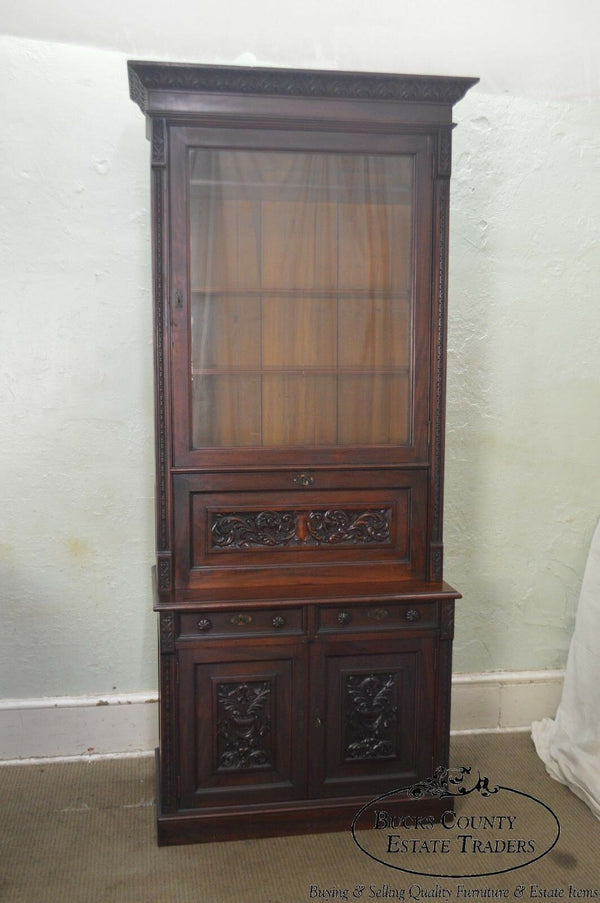 American Victorian Renaissance Carved Walnut Bookcase Top Secretary Desk