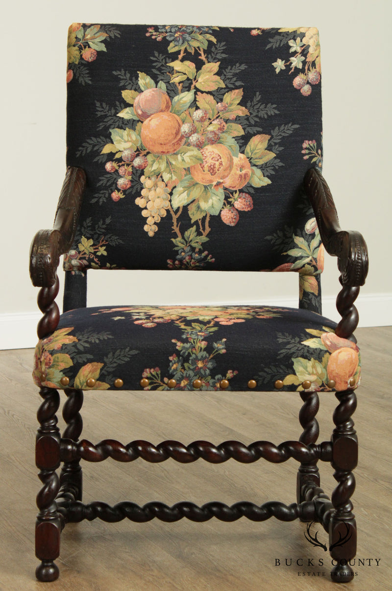 Antique French Louis XIII Style Barley Twist Carved Armchair